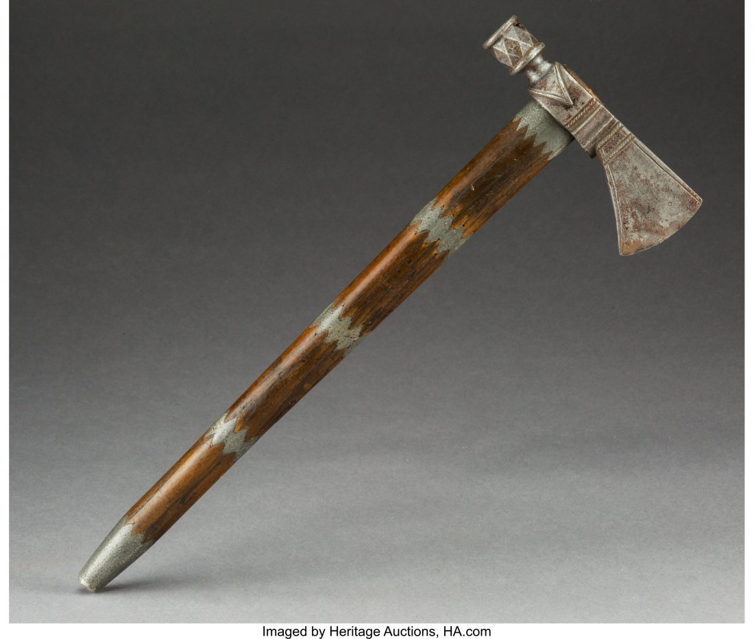 70246: A Plains Pipe Tomahawk c. 1860   wood, iron, pew