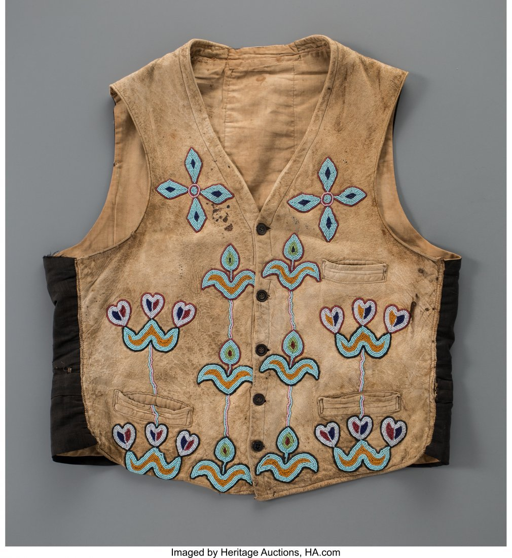 70262: A Crow Beaded Hide Vest c. 1890   hide, glass se
