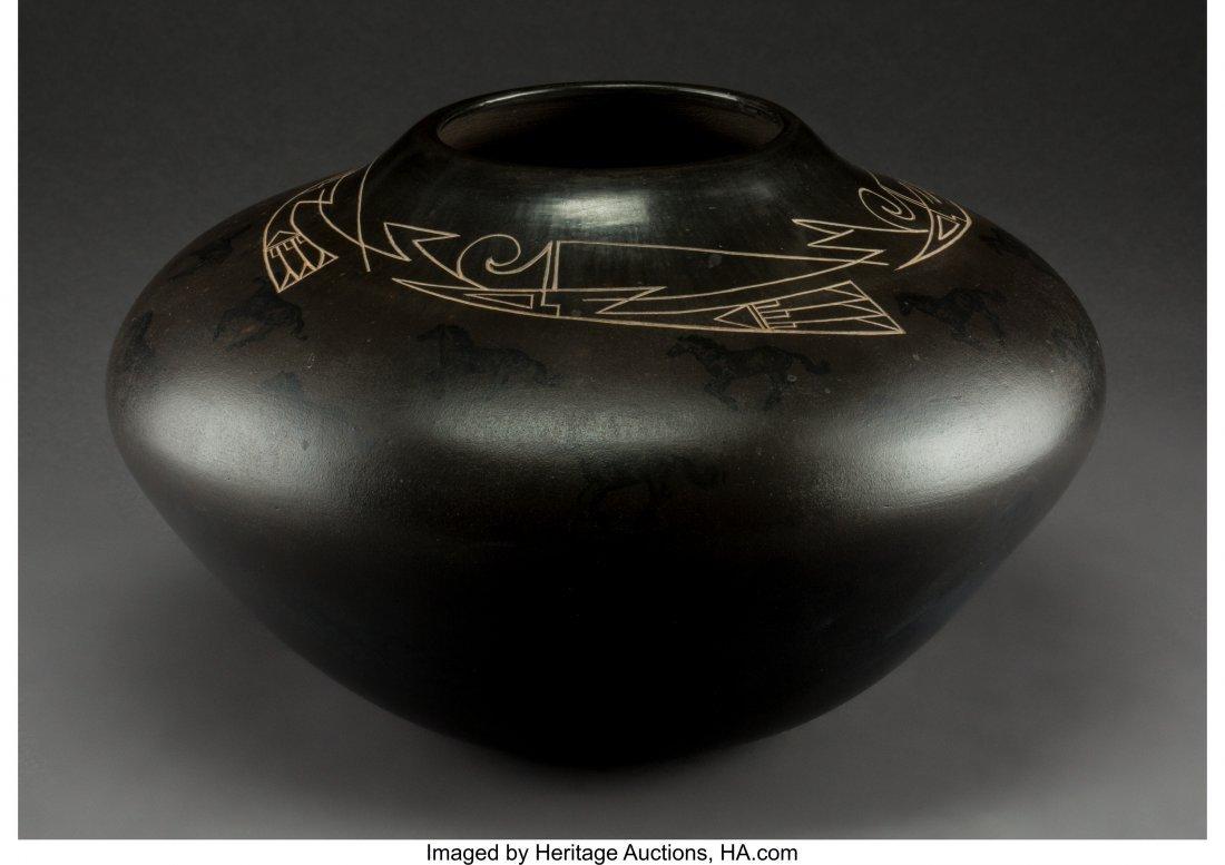 70087: A Contemporary Santa Clara Etched Blackware Jar