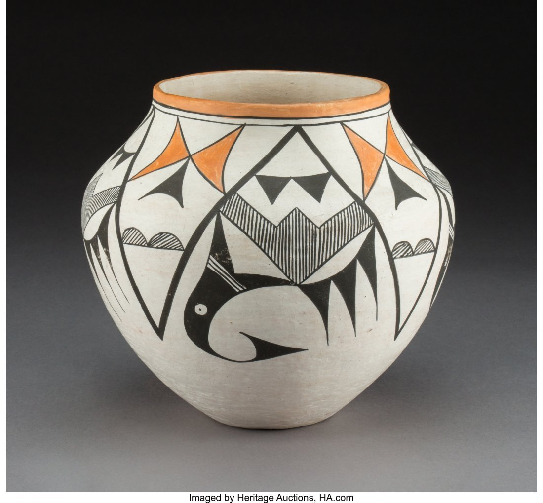 70442: An Acoma Polychrome Jar Ruby Shroulate   c. 1970
