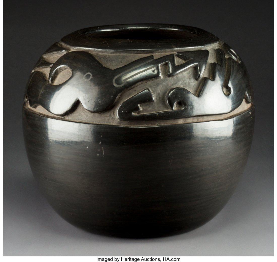 70094: A Large Santa Clara Carved Blackware Jar  Margar