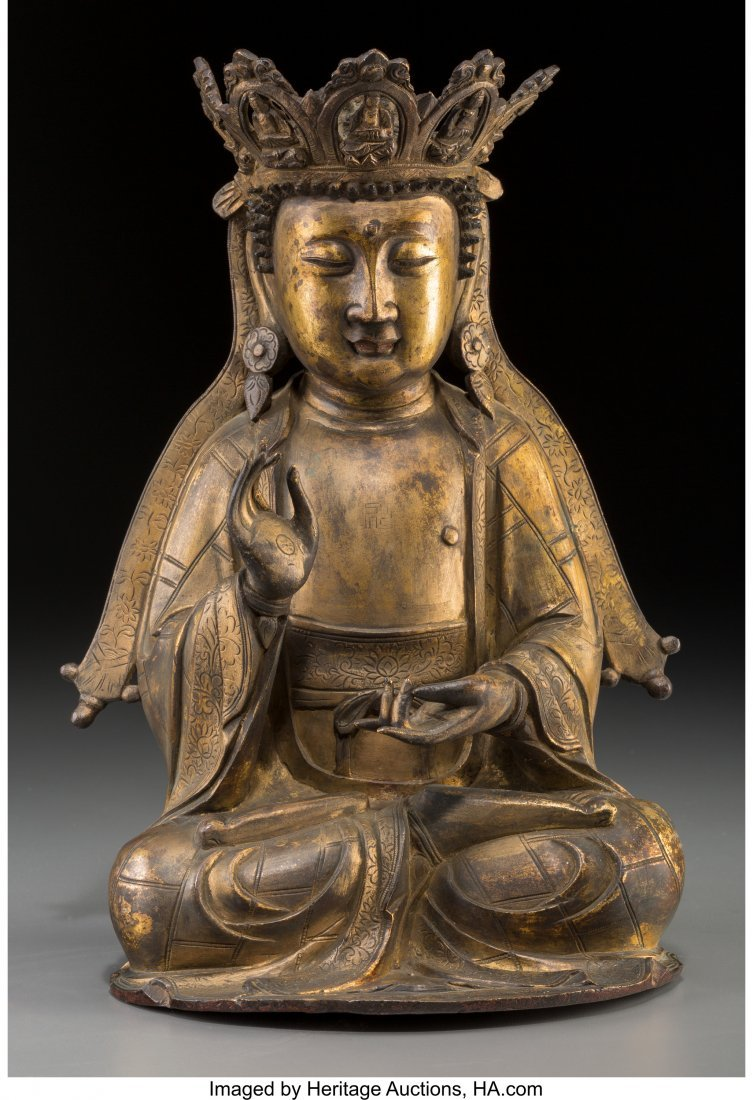 78183: A Chinese Gilt Bronze Seated Vairocana Buddha, M