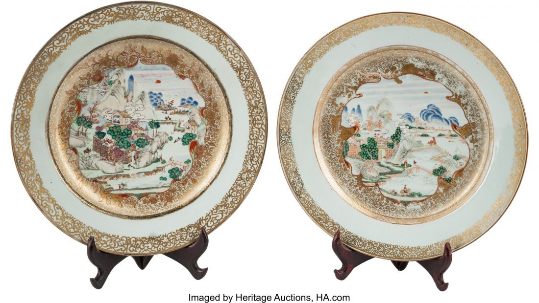 78367: A Pair of Chinese Export Porcelain Chargers, Qin
