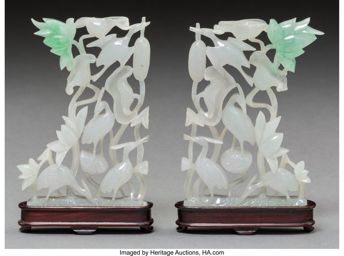 78097: A Mirrored Pair of Chinese Jadeite Crane and Lot