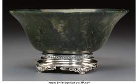 78099: A Chinese Carved Spinach Jade Bowl on Silver Yam