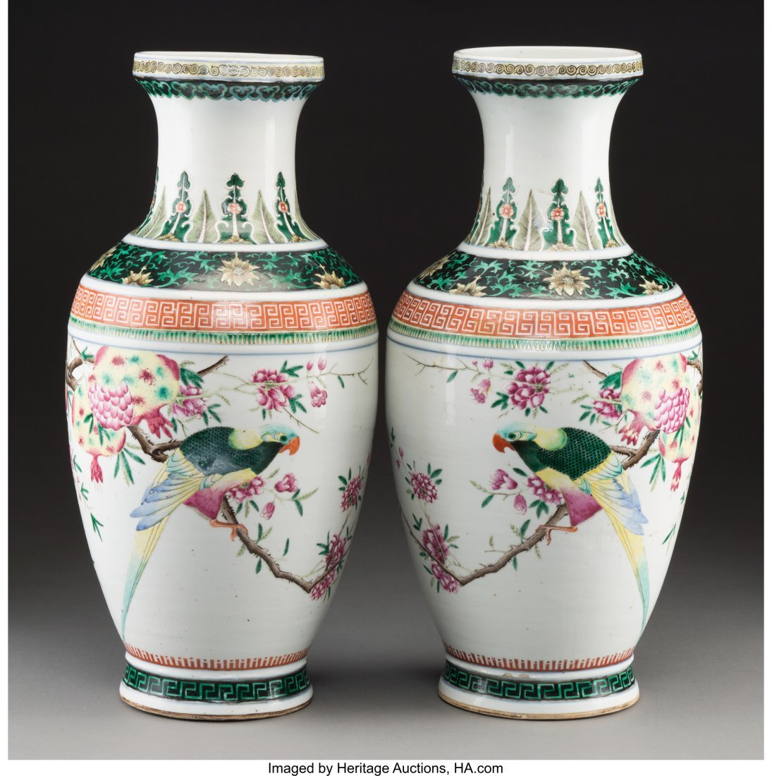 78373: A Pair of Chinese Enameled Porcelain Parrots wit