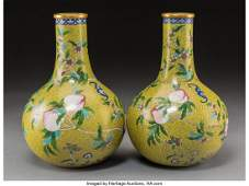 78195: A Pair of Chinese Cloisonné Bat and Peach Bottl