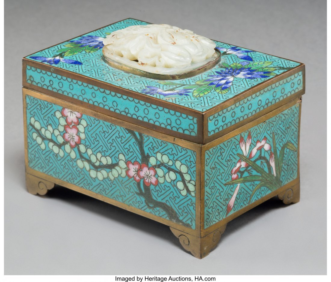 78023: A Chinese Cloisonné Table Box with Inset White