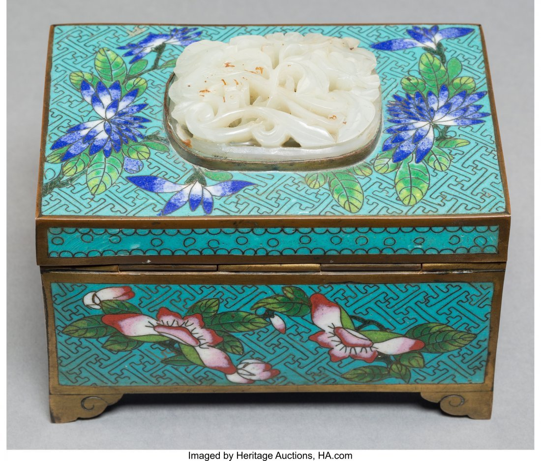 78023: A Chinese Cloisonné Table Box with Inset White  - 2