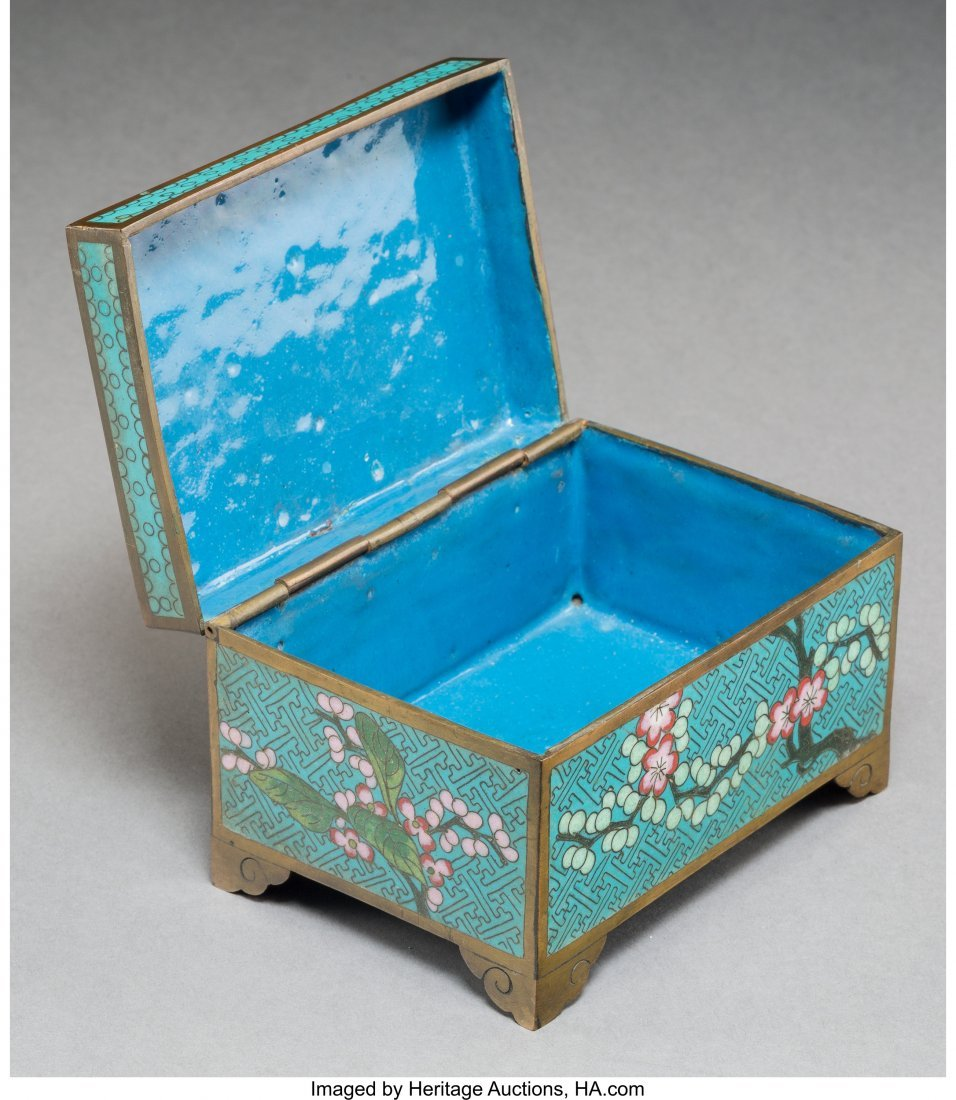 78023: A Chinese Cloisonné Table Box with Inset White  - 3