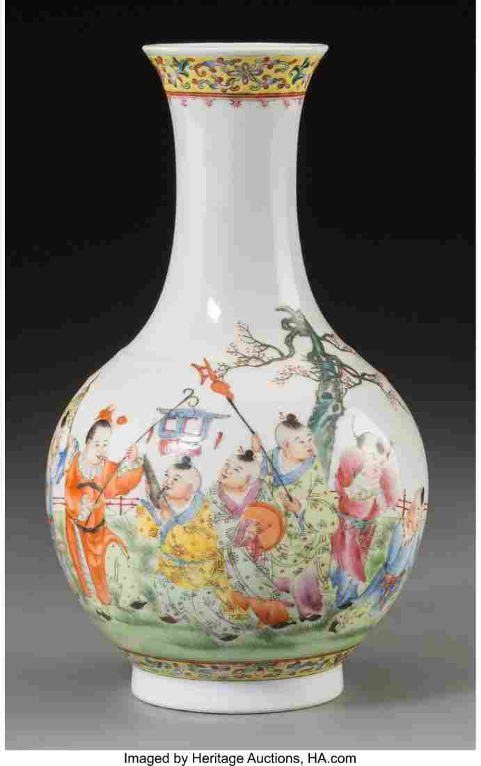 78382: A Chinese Porcelain Boys at Play Bottle Vase, Re