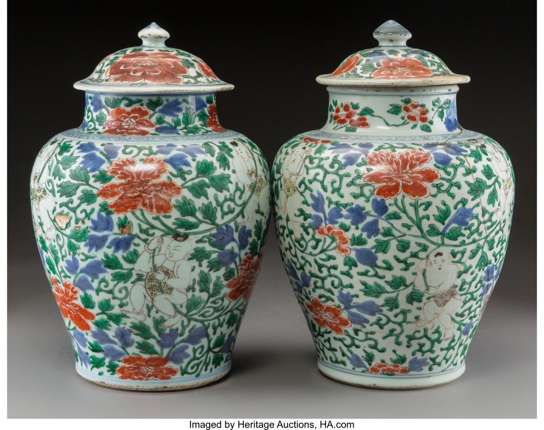 78304: A Pair of Chinese Wucai Porcelain Covered Jars,