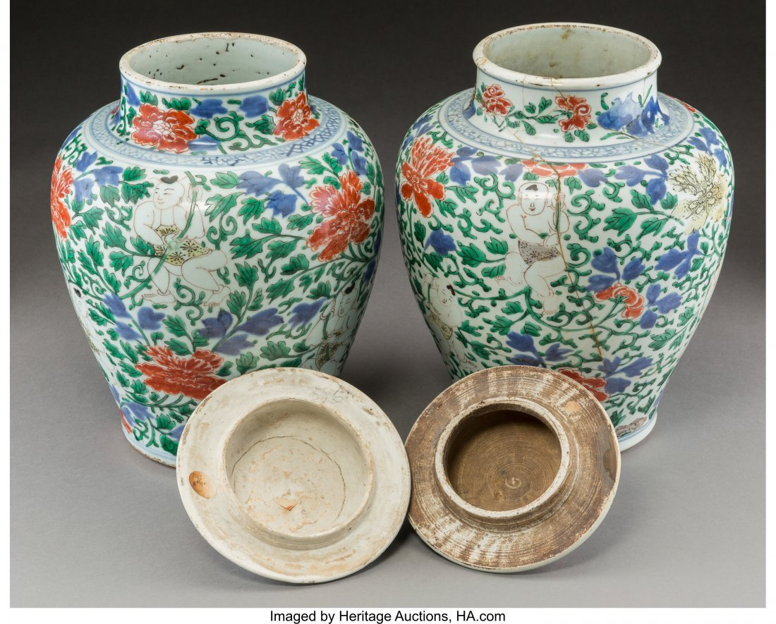 78304: A Pair of Chinese Wucai Porcelain Covered Jars,  - 2