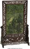 78117: A Large Chinese Carved Spinach Jade Table Screen