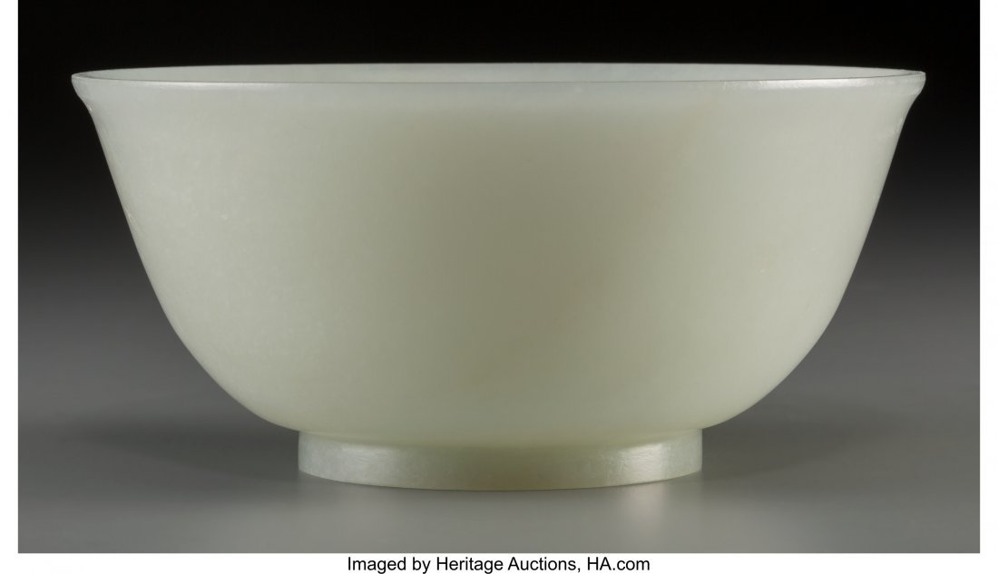 78042: A Chinese Carved White Jade Bowl, Qing Dynasty,