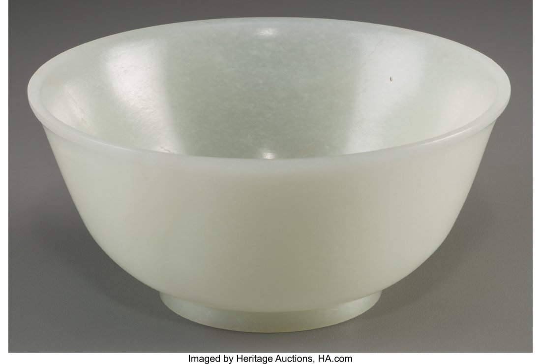 78042: A Chinese Carved White Jade Bowl, Qing Dynasty,  - 2