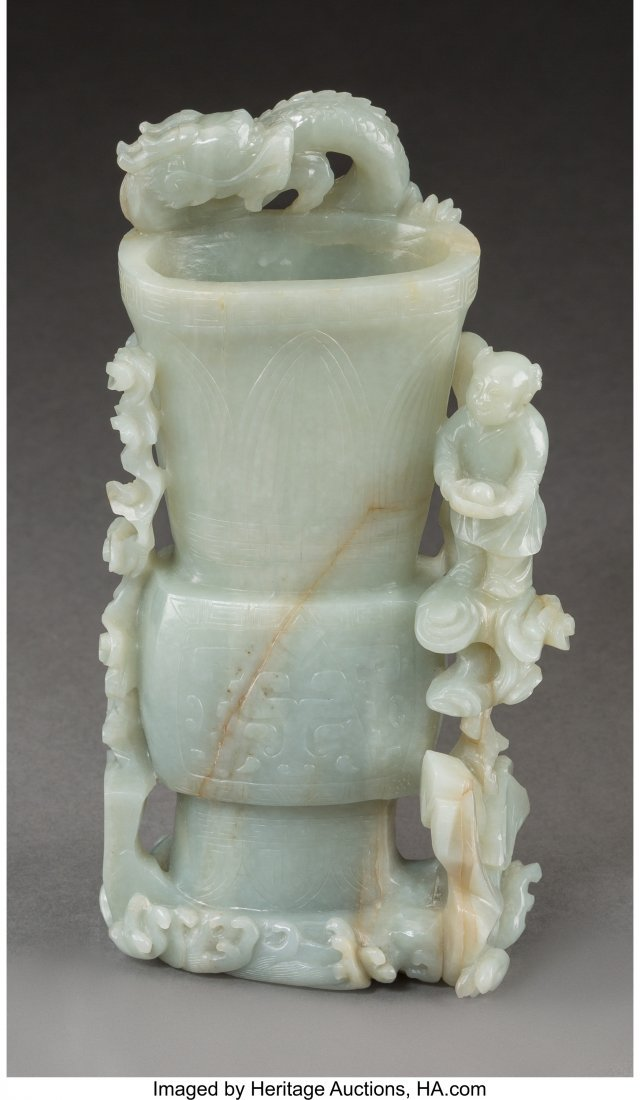 78051: A Chinese Celadon Jade Spill Vase with Dragon an - 3