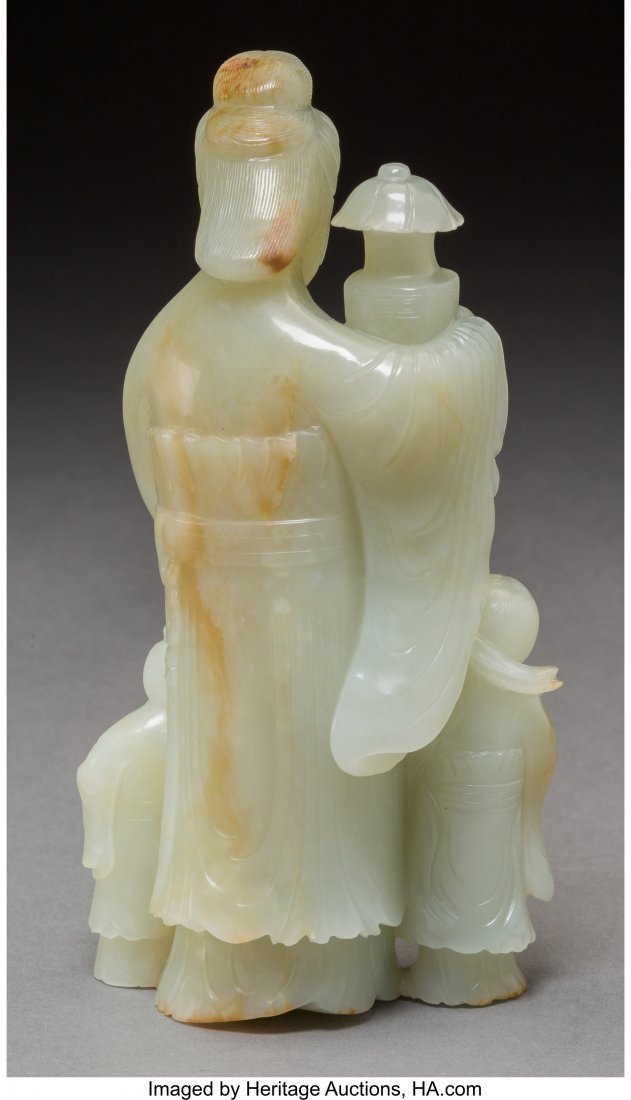 78065: A Chinese Carved Jade Figural Group of a Beauty  - 2