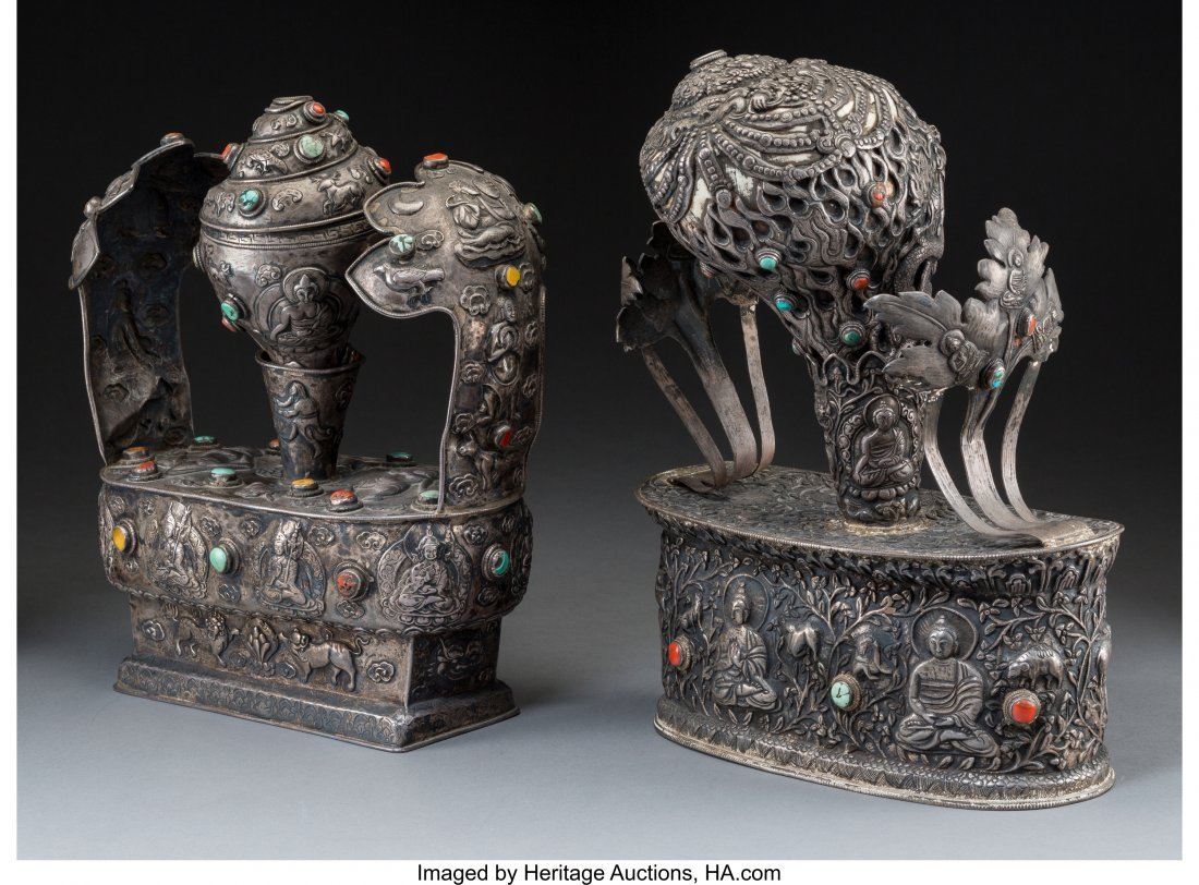 78409: Two Large Tibetan Silver, Coral, and Turquoise C