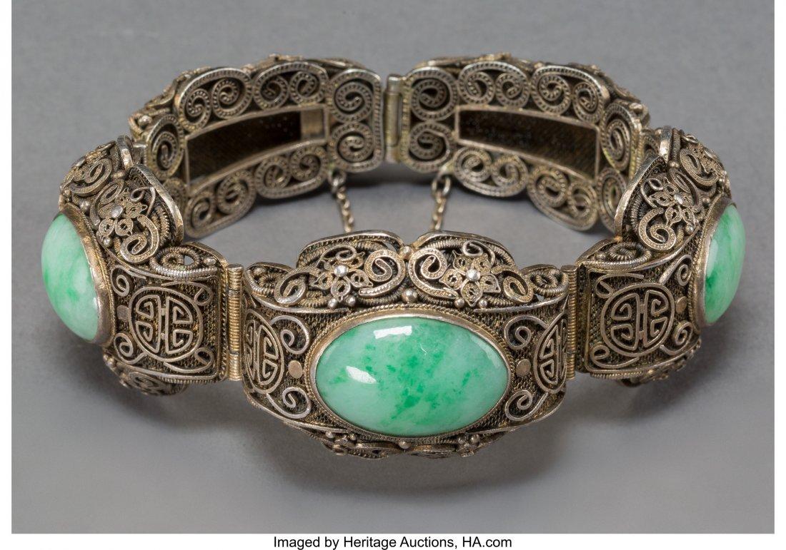 78140: A Chinese Jadeite and Silver Filigree Bangle, ea