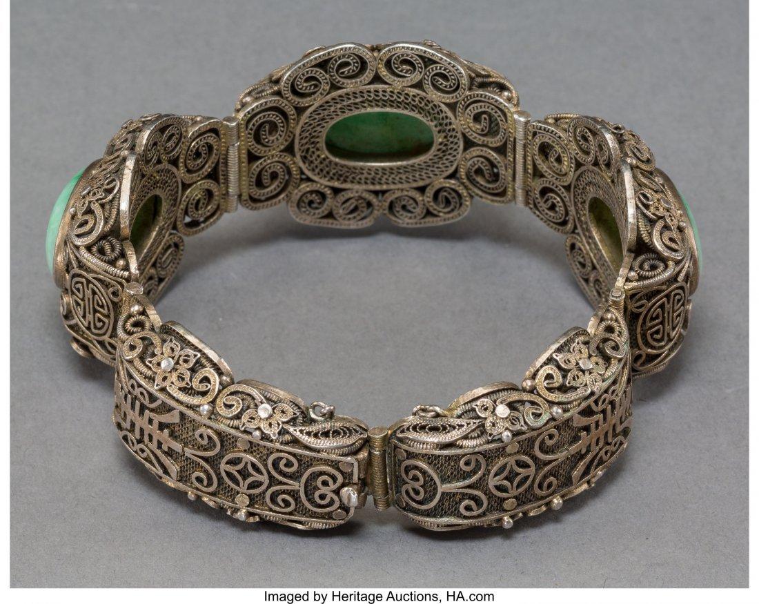78140: A Chinese Jadeite and Silver Filigree Bangle, ea - 2