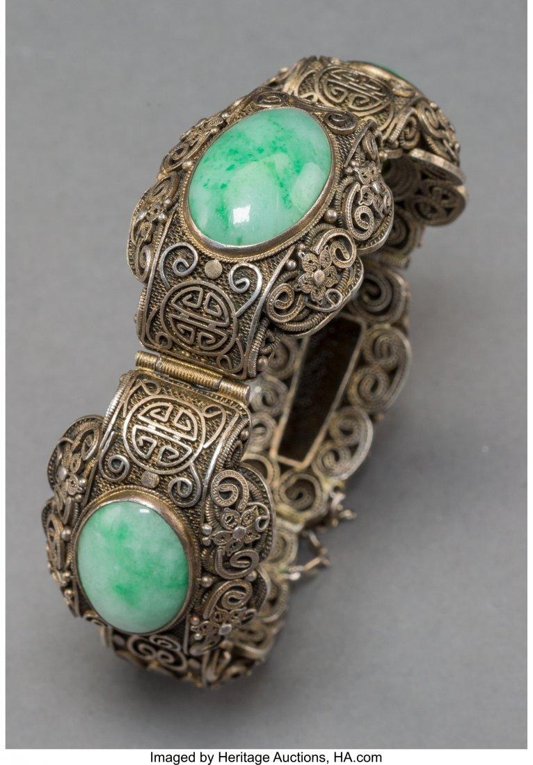 78140: A Chinese Jadeite and Silver Filigree Bangle, ea - 3