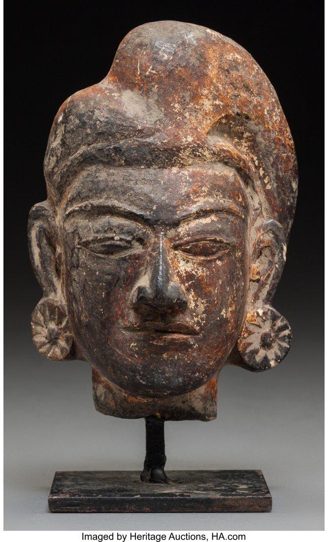 78417: An Indian Terracotta Head, Possibly Gupta Period