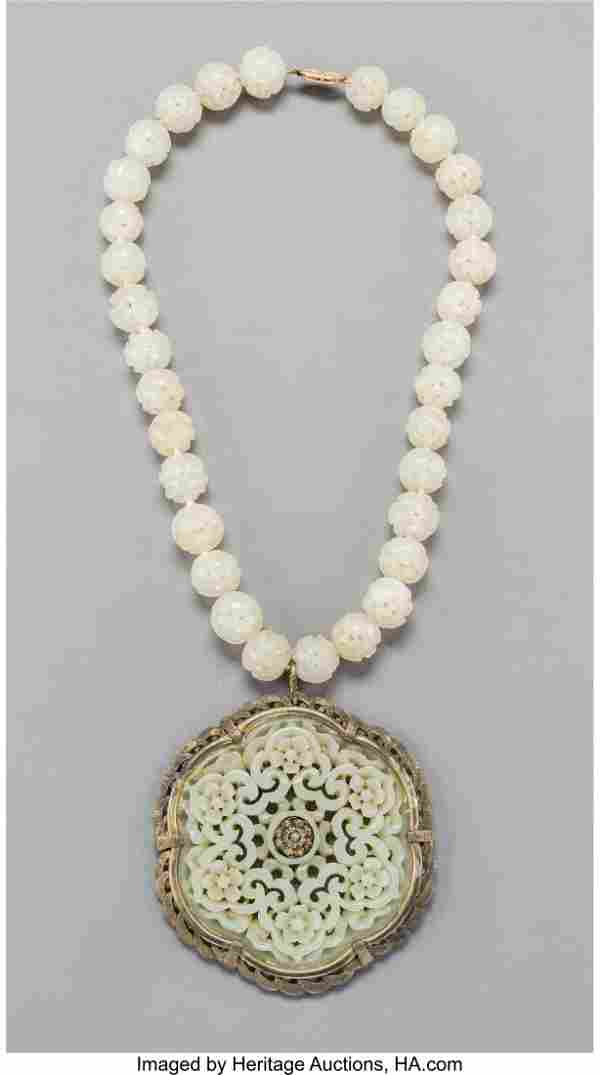 78083: A Chinese White Jade Openwork Carved Pendant and