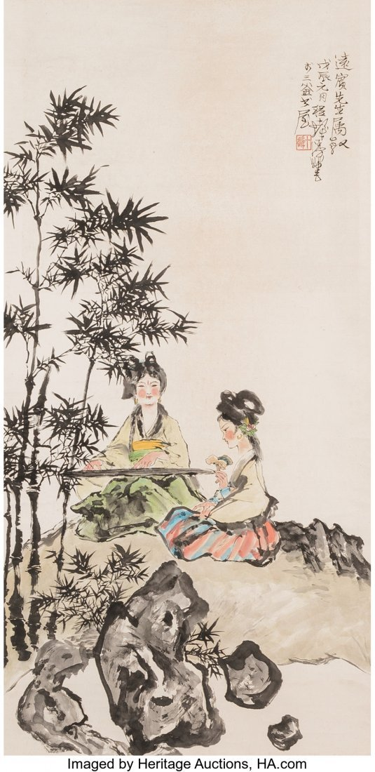 78243: A Chinese Watercolor Painting of Two Seated Wome