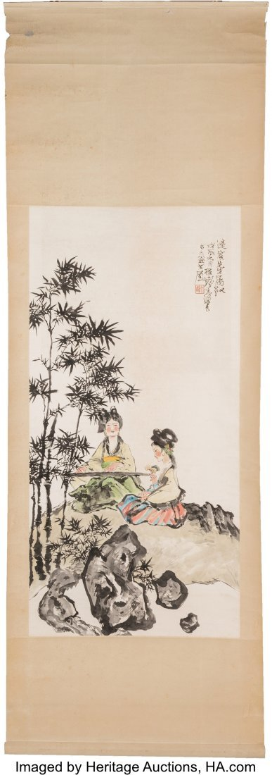 78243: A Chinese Watercolor Painting of Two Seated Wome - 2