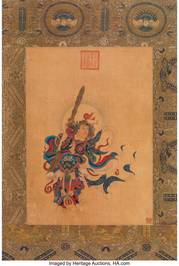 78247: A Chinese Silk Painting Depicting a Door Guardia