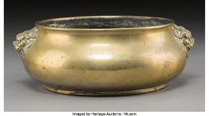78166: A Chinese Bronze Censer with Beast Mask Handles,