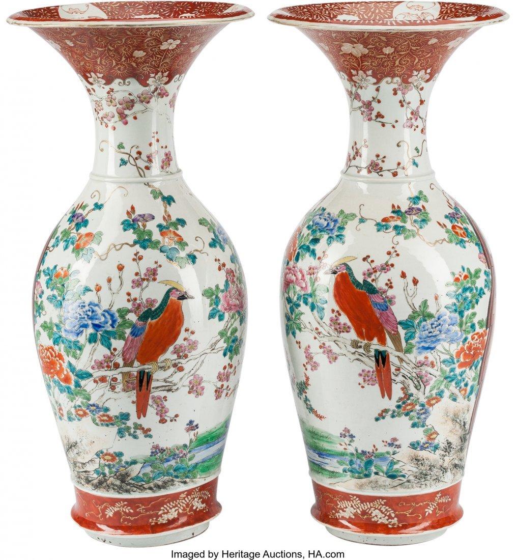 78576: A Large Pair of Japanese Kutani Porcelain Vases, - 2