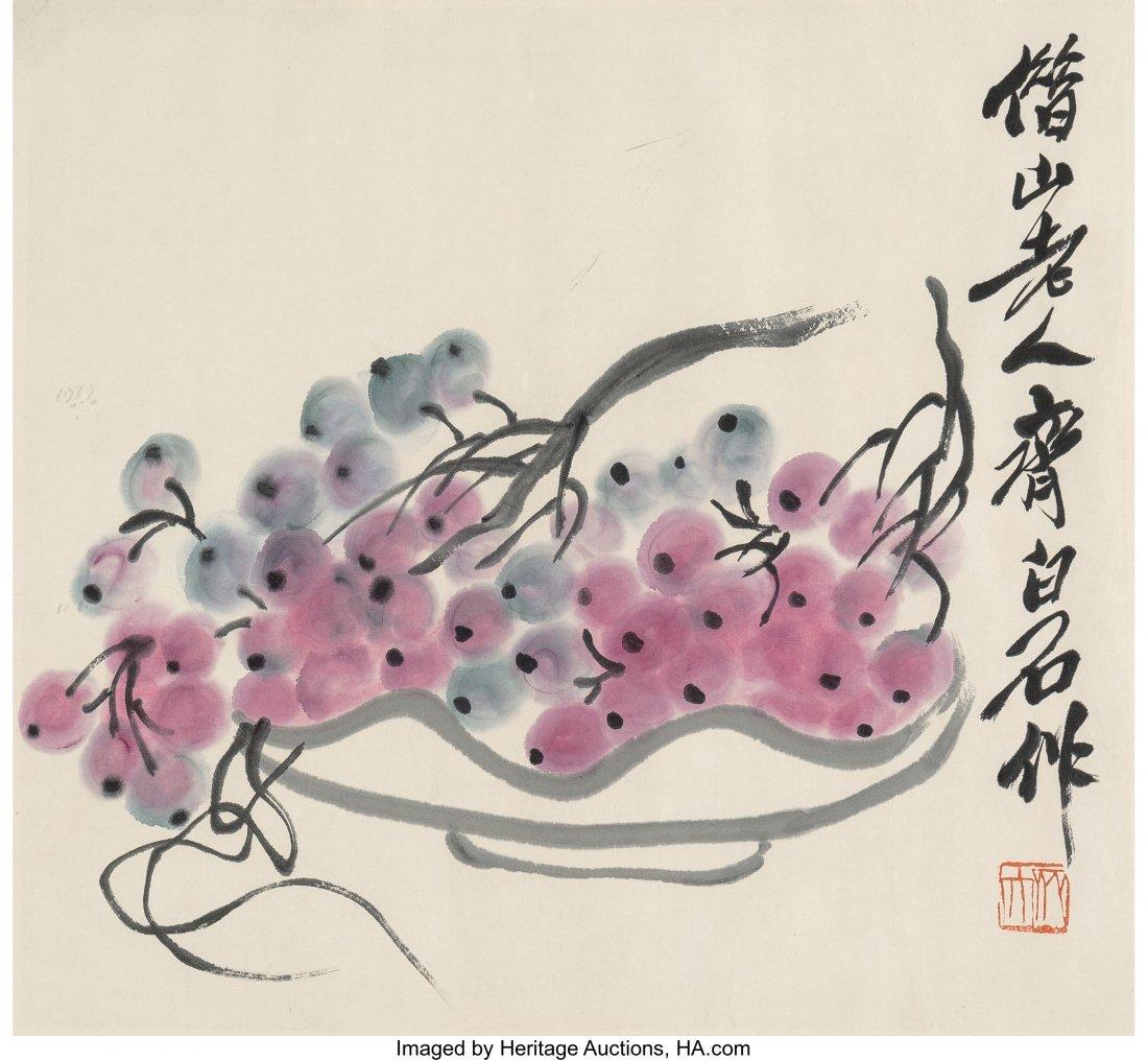 78269: Three Chinese Watercolor Paintings of Fruit, Att