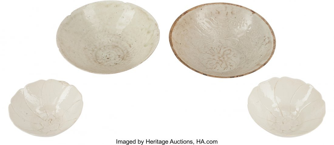 78586: Four Chinese Ding-Style Ceramic Bowls 7.25 inche