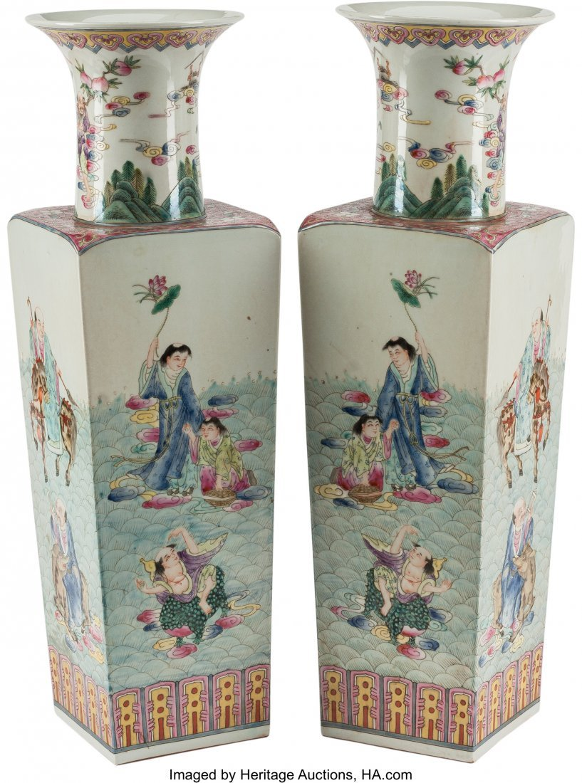 78543: A Pair of Chinese Enameled Porcelain Square Vase