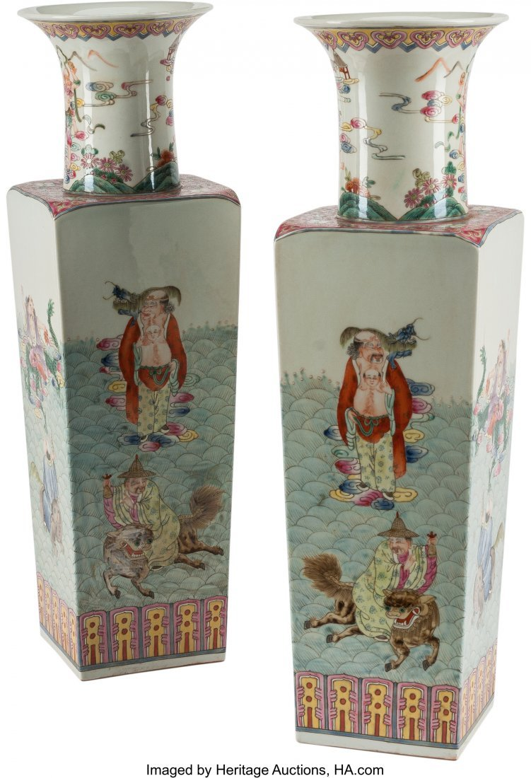 78543: A Pair of Chinese Enameled Porcelain Square Vase - 2