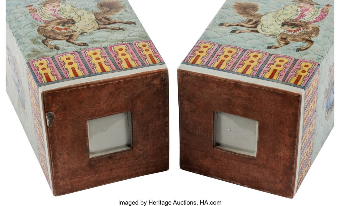 78543: A Pair of Chinese Enameled Porcelain Square Vase - 3