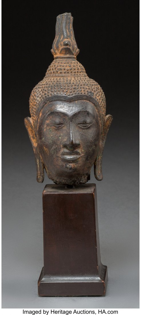 78728: A Southeast Asian Bronze Buddha Head on Stand 5-