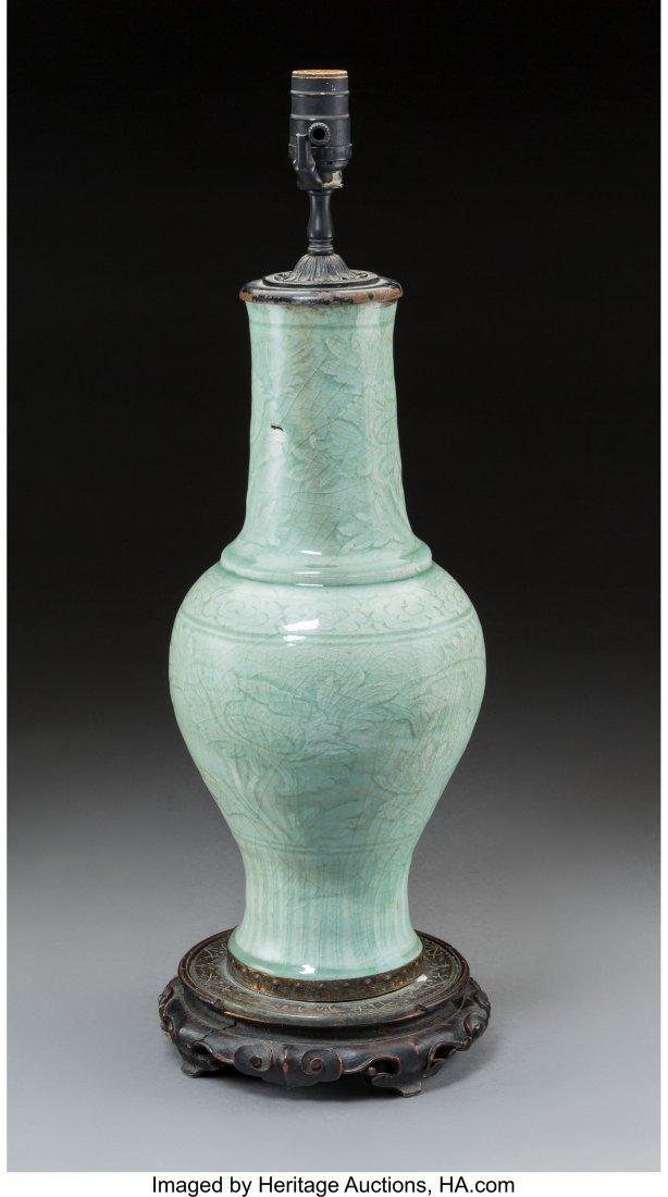 78696: A Chinese Celadon-Glazed Porcelain Vase Mounted