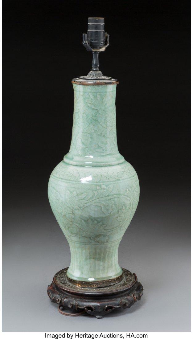 78696: A Chinese Celadon-Glazed Porcelain Vase Mounted  - 2