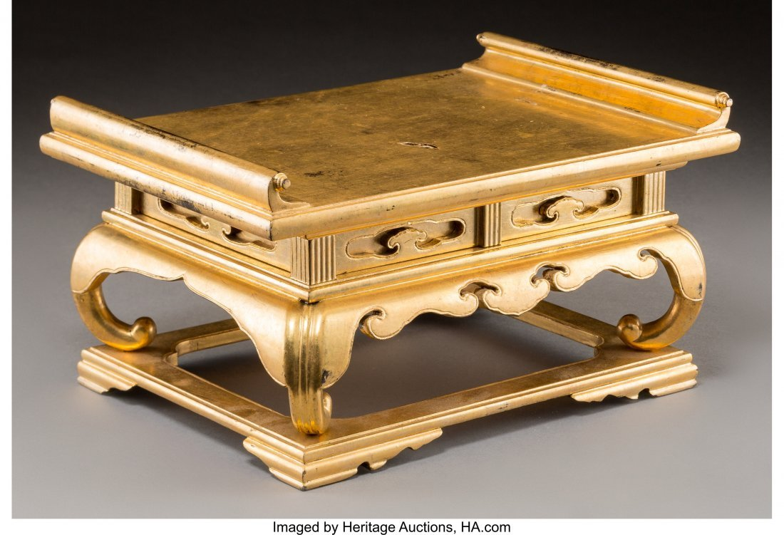 78772: A Miniature Japanese Gilt and Lacquered Wood Sch - 2