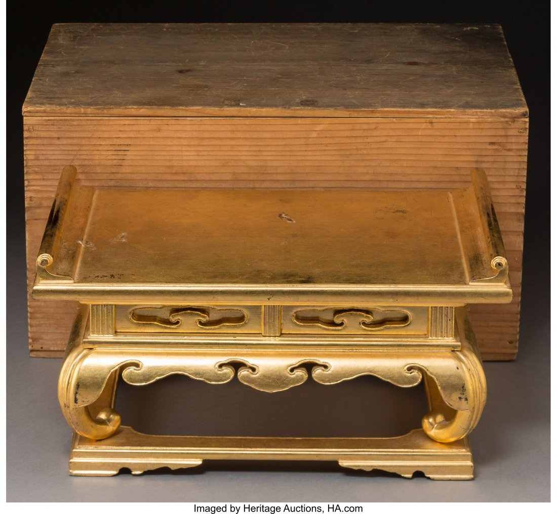 78772: A Miniature Japanese Gilt and Lacquered Wood Sch - 3