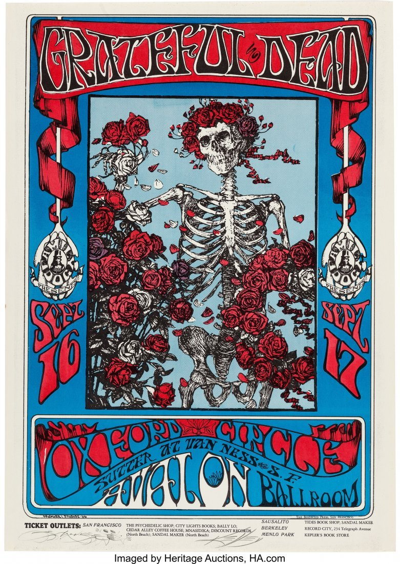 89107: Grateful Dead Concert Poster First Printing Sign