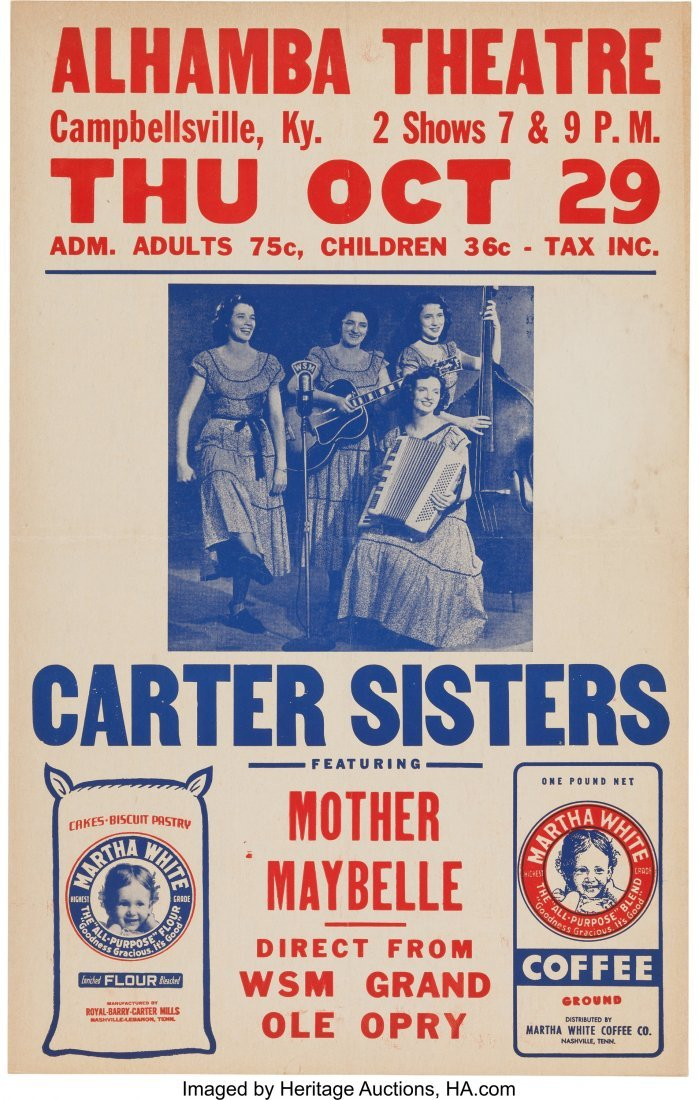 89352: Carter Sisters Alhambra Theatre Concert Poster (