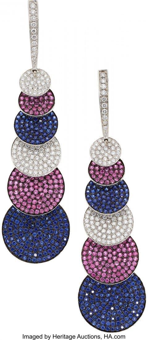 55023: Multi-Color Sapphire, Diamond, White Gold Earrin