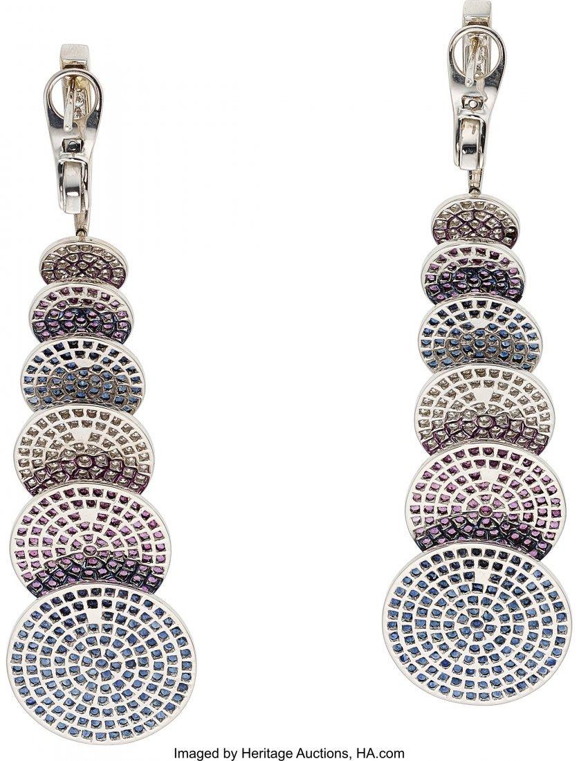 55023: Multi-Color Sapphire, Diamond, White Gold Earrin - 2