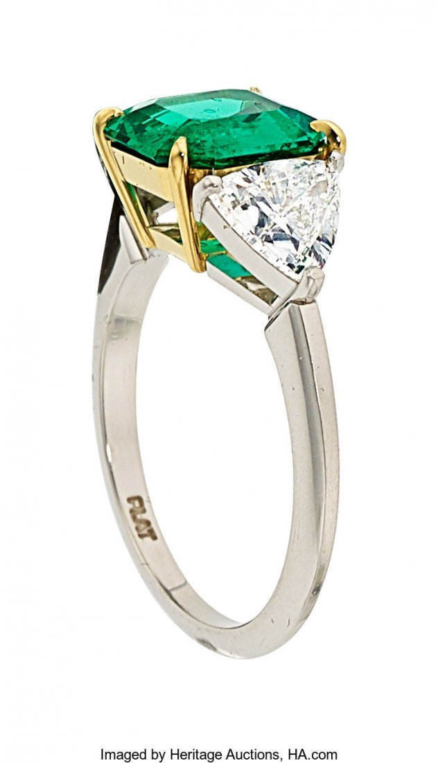 55026: Colombian Emerald, Diamond, Platinum, Gold Ring  - 2