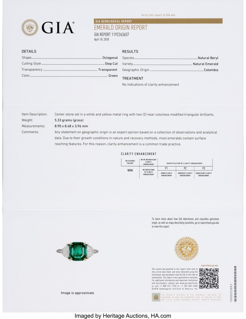 55026: Colombian Emerald, Diamond, Platinum, Gold Ring  - 4