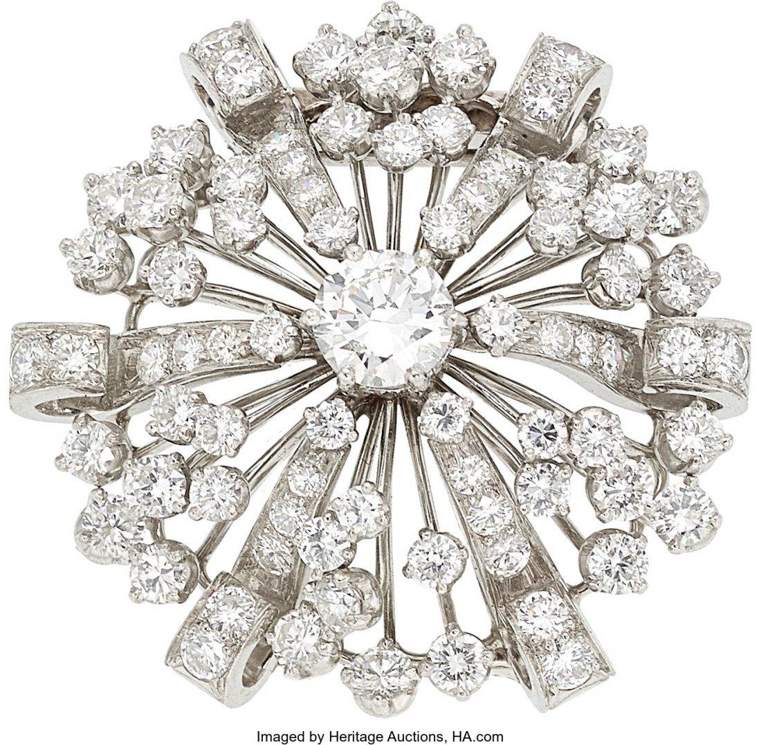 55108: Diamond, Platinum Brooch, Oscar Heyman Bros.   T